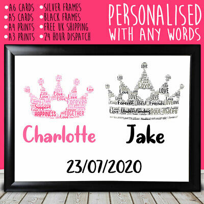 Personalised King And Queen Anniversary Special Gift For Him Her 1st 5th 10th • 4.49£