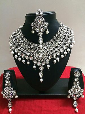 $27.29 • Buy Indian Bollywood Bridal Diamante Kundan Pearl Rhodium Plated Jewelry Set