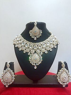Indian Bollywood Style Fashion Rose Gold Plated Bridal Jewelry Necklace Set • 35.99$