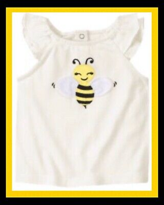 "$14.99 • Buy NWT 4 4T Gymboree ""BEE CHIC"" Cotton BUMBLEBEE 3D-Wings TOP SHIRT Off-white Ivory"