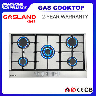AU299 • Buy GASLAND Chef Gas Cooktop Stainless Steel 5 Burners 90cm Cast Iron NG LPG  Stove