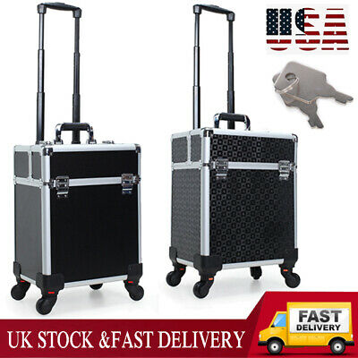 $22.79 • Buy Professional Rolling Makeup Case Aluminum Trolley Cosmetic Train Box Make Up Bag