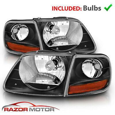 $81.99 • Buy For 97-03/02 Ford F150/ Expedition Lightning Style Black Headlight + Corner Pair