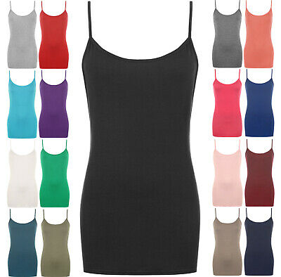 £6.95 • Buy Womens Vest Tops Plus Size Strappy Tank Top Ladies Stretchy Cami Bodycon Jersey