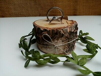 Wooden Wedding Ring Holder Rustic Ceremony Woodland Ring Cushion Pillow Bearer • 7.99£