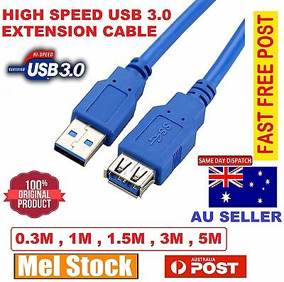 AU8.99 • Buy USB 3.0 SuperSpeed Extension Cable Type A Male To Female Extention Cord Lead