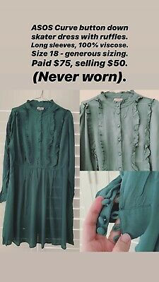 AU50 • Buy ASOS Curve Button Down Ruffle Dress