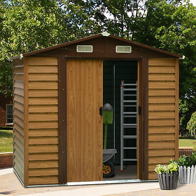 Outsunny 8 X 6FT Metal Garden Shed Wood Effect Woodgrain Storage Unit Tool Box • 304.99£