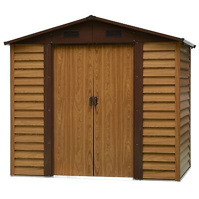 Outsunny 8 X 6FT Metal Garden Shed Wood Effect Woodgrain Storage Unit Tool Box • 369.99£
