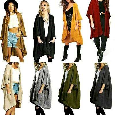 £14.99 • Buy Womens Knitted Sweater Open Front Pocket Coat Long Midi Cardigan Coat Top 8-24