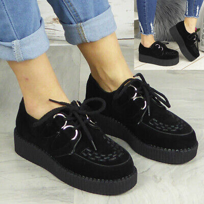 £19.99 • Buy Ladies Creepers Trainers Womens Platform Goth Punk Lace Up Flat Pumps Shoes Size