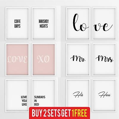 Set Of 2 Stylish Prints Matching Pair Of Framed Wall Art Poster Bedroom Kitchen • 12.99£