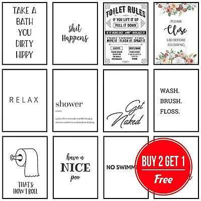 Framed Bathroom Art Toilet Prints Bathroom Pictures Funny Quotes Puns Wall Art • 6.49£