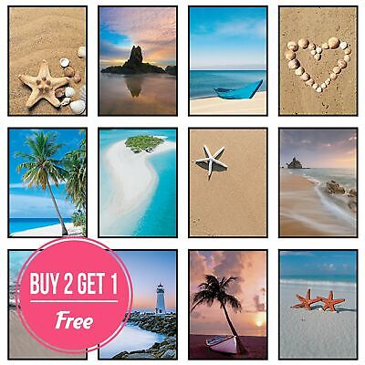 Beach Prints Coastal Wall Art Framed Sea Pictures Nature Ocean Bathroom Décor • 6.49£
