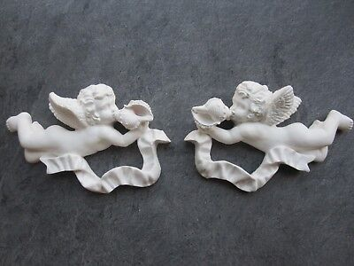 £9.95 • Buy Two Shabby Chic French Country Style Ornate Cherubs / Wall Plaque/project.