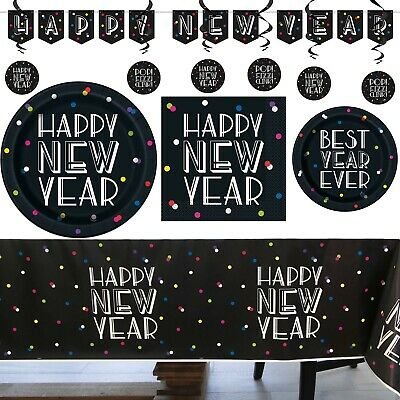 New Years Eve Party Tablecover Plates Banner Decor Napkin Buffet Neon Dots 2020  • 3.25£