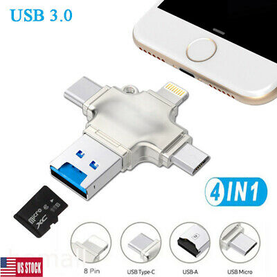 USB 3.0 TF Card Reader Adapter Flash Drive Type-C OTG For IPhone Android PC USA • 20.89$