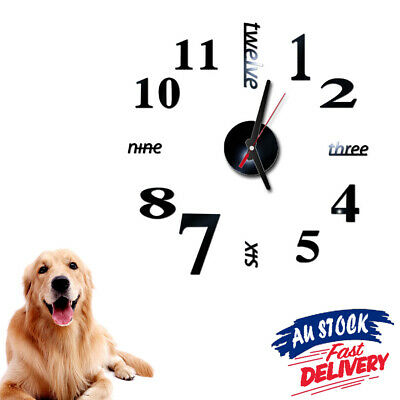 AU13.15 • Buy Large Wall Clock Watch Roman Numerals 3D Stickers Decal Big Modern Home DIY Wall