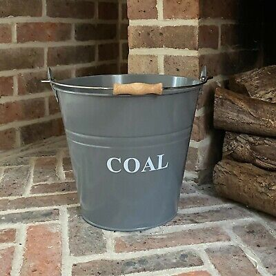 Fireside Coal Bucket Scuttle In French Grey With Wooden Handle By Selections • 14.99£