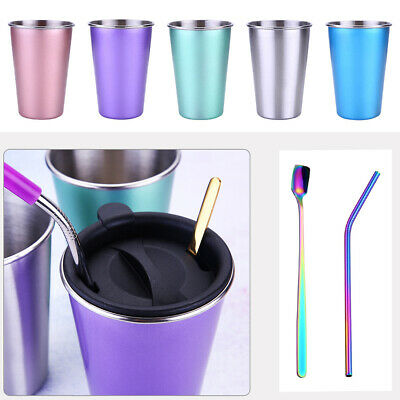 AU19.89 • Buy Stainless Steel Travel Mug Tumbler Coffee Cup With Lid & Drinking Straw Gift AU