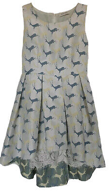 BlueSky S Cocktail Party Dress Dancing Deer Pattern, Blue/Yellow High/low MiuMiu • 112.21£