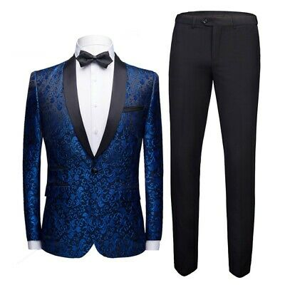 $ CDN136.35 • Buy Mens Tuxedo 2PCS Suit Slim Fit One Button Shawl Collar Outfit Costume Wedding