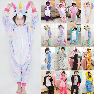 AU21.27 • Buy Kids Girls Rainbow Unicorn Kigurumi Nightwear Clothes Pajamas Sleepwear Jumpsuit