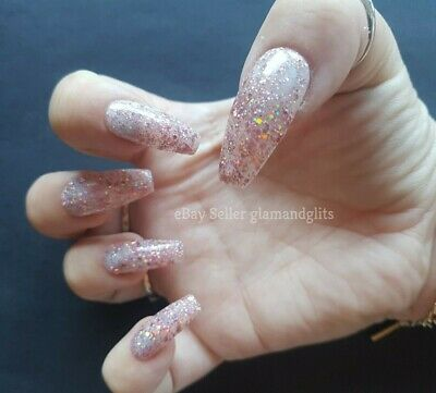24 Hand Painted Gel False Nails Jelly Pink Glitter - Coffin Stiletto Square Oval • 5.99£