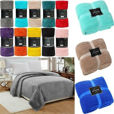 £14.99 • Buy Popcorn Throw Blanket Soft Warm Luxury Single Double King All Colours