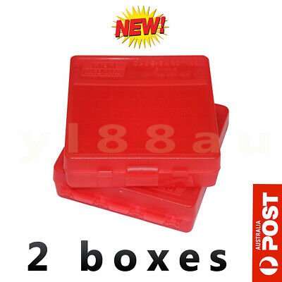 AU19.90 • Buy MTM 380/9MM Cal 100 Rds Flip-Top 2 X RED Ammo Boxes - #P-100-9-29