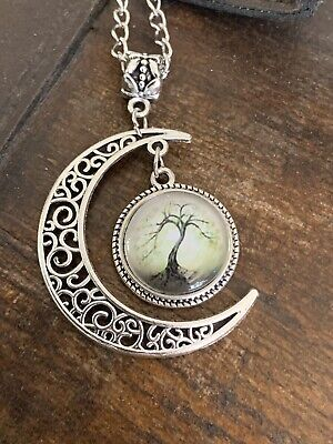 Tibetan Silver Crescent Moon And Hanging Tree Of Life Pagan Pendant Necklace • 2.99£
