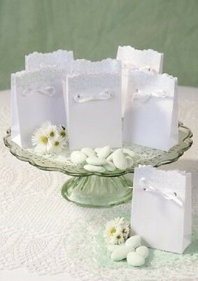 WEDDING FAVOUR BOX 10pk Lace And Mint Design Confetti Bag Classic Style UK • 3.99£