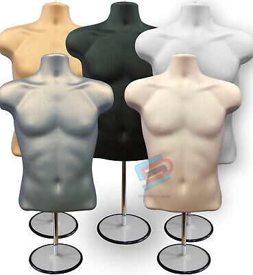 Male Mannequin Freestanding 3qtr Body Form Top Table With Round Stand • 16.99£
