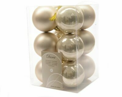 12 Luxury Shatterproof Christmas Baubles Tree Decorations 60mm - Pearl Gold • 5.99£