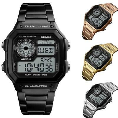 Skmei Smart Mens Digital Watch Clear Large Display Stainless Steel 4 Colours UK • 17.99£