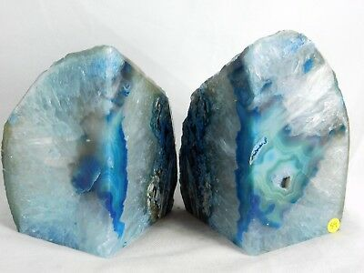 AB59) Large Blue Agate Quartz Crystal Bookends - House Office Decor Gift  3.5KG • 65£