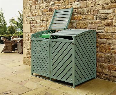 Outdoor Wooden Double Wheelie Rubbish Bin Store Cover Recycling Storage Unit • 199.95£