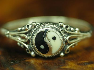 925 Sterling Silver Ring With Yin & Yang Kunstmasse Decorations/Real Silver/Rg • 29.87£
