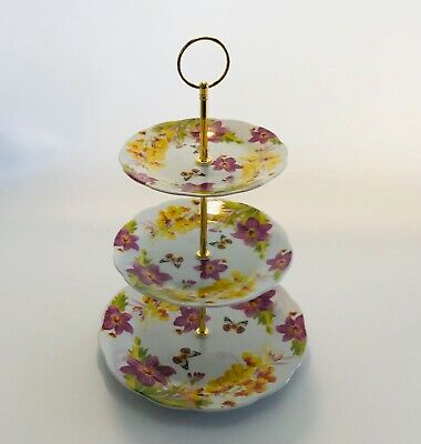 £13.99 • Buy  Vintage Floral 3 Tier Ceramic Cake Stand Cupcake Wedding Butterfly
