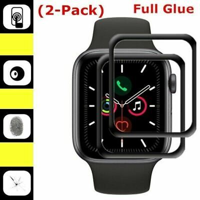 $ CDN5.61 • Buy 2X Tempered Glass Apple Watch 5 4 44/40mm 3D Curved Full Cover Screen Protector