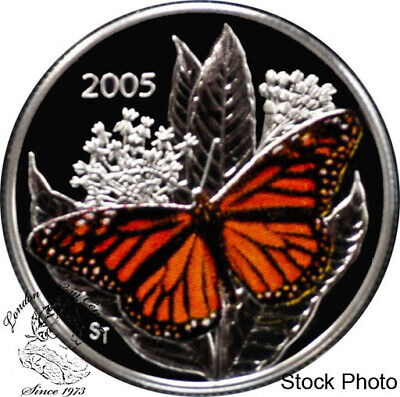 $33.21 • Buy Canada 2005 50 Cents Monarch Butterfly Coloured Silver Coin