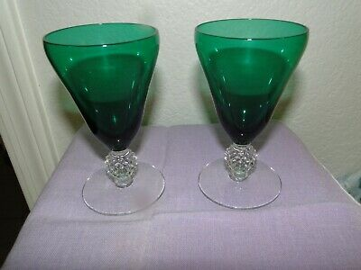 $29.99 • Buy Morgantown Old English Steigel Green Juice Glasses, 4&5/8  Tall, Exc. Cond.