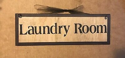 LAUNDRY ROOM SIGN Country Primitive Wood Farmhouse Wall Art Wooden Decor 4x12  • 6.43£