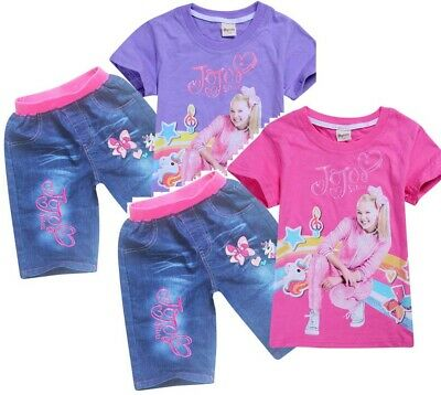 AU21.95 • Buy JOJO SIWA Girls T-shirt And Denim Pants Shorts Outfit Size 2-10 Au Stock