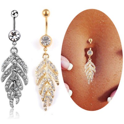 £3.29 • Buy Belly Button Bar Body Piercing Dangle Navel Silver Gold Rings Jewellery Bars UK