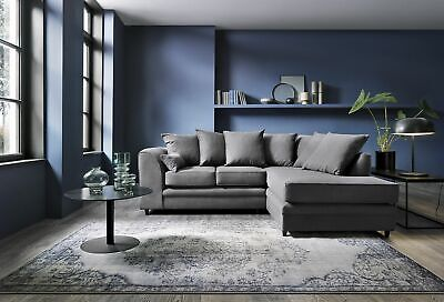 Darcy Corner Sofa In Dark Grey Linen Fabric 3 Or 2 Seater, Armchair, Footstool • 445£