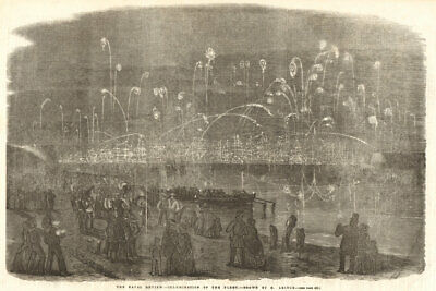 The Naval Review - Illumination Of The Fleet. Portsmouth. Ships 1856 ILN Print • 13.99£