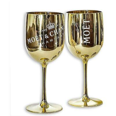 Moet Chandon Imperial Champagne Gold Acrylic Plastic Party Goblet Cup X 2 • 22.26£