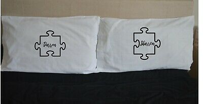 PUZZLE PIECES Personalised Name Love Pillowcases Gift Wedding Pair Valentine • 15.99£