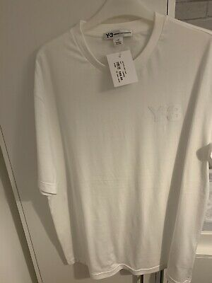Mens White Y-3 T-Shirt (Size Large) • 45£